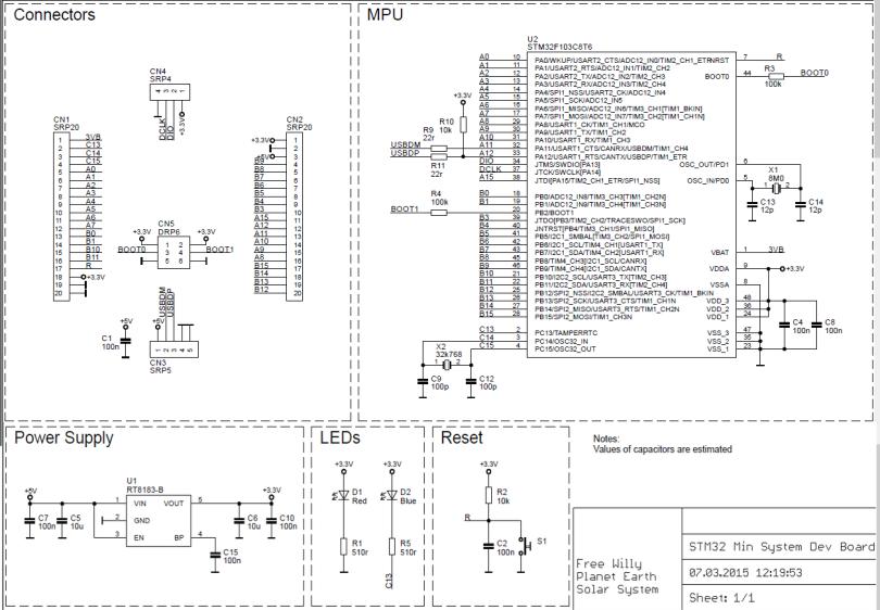 STM32F103c8 Mini Development Kit Schematic